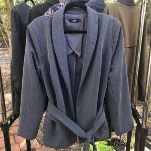 Enlo tie wrap gray blazer
